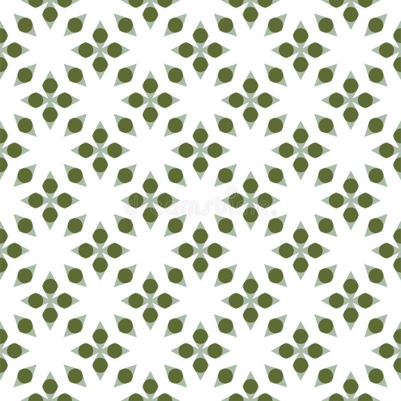 Diamant och gr?n cirkelmodell p? vit bakgrund seamless modell Abstrakt vektor stock illustrationer