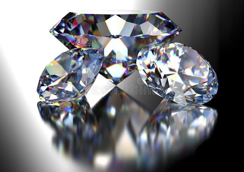 Diamant op witte achtergrond met het knippen van weg stock illustratie
