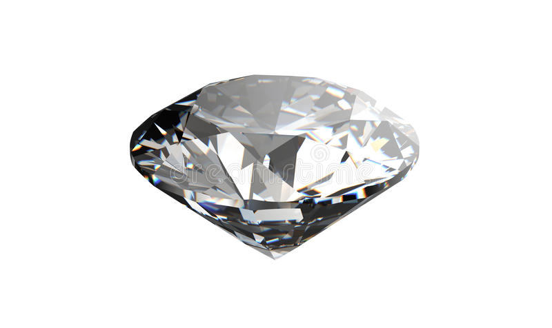 Diamant op witte achtergrond met hoogte - kwaliteit stock illustratie