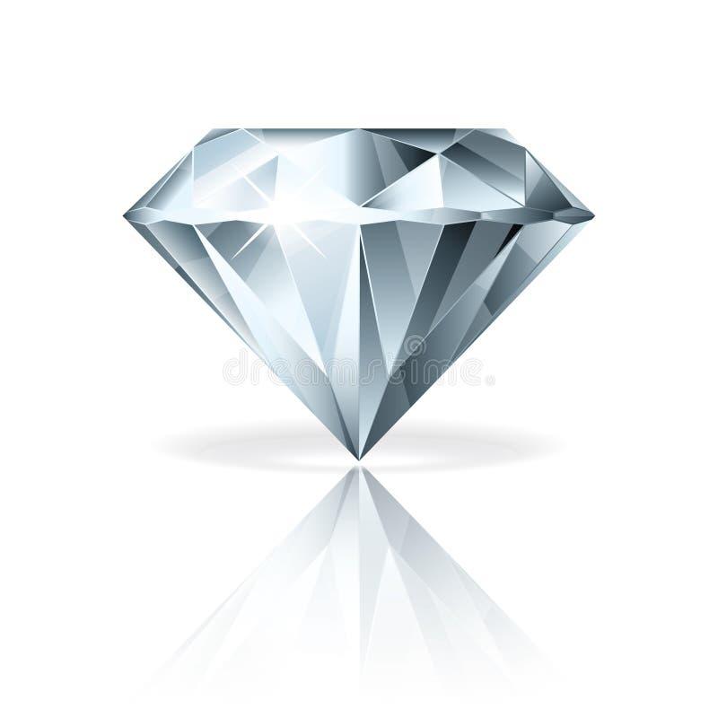 Diamant op witte vectorillustratie vector illustratie