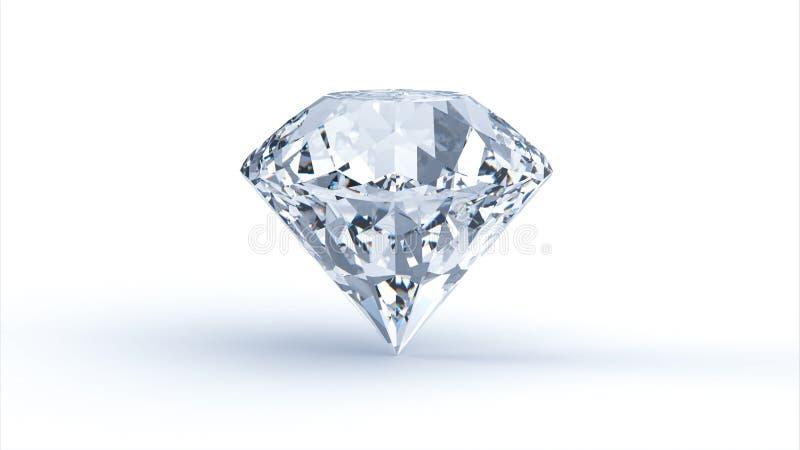 Diamant på vit bakgrund 3d framför royaltyfri illustrationer