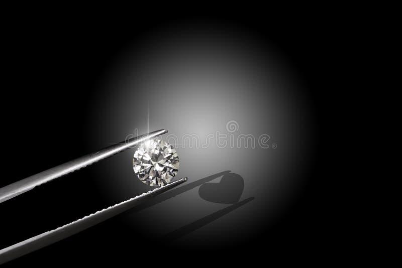 Diamant rond Pékin, photo noire et blanche de la Chine Organisé par des brucelles Lumières sur le diamant Foyer sur des diamants  image libre de droits