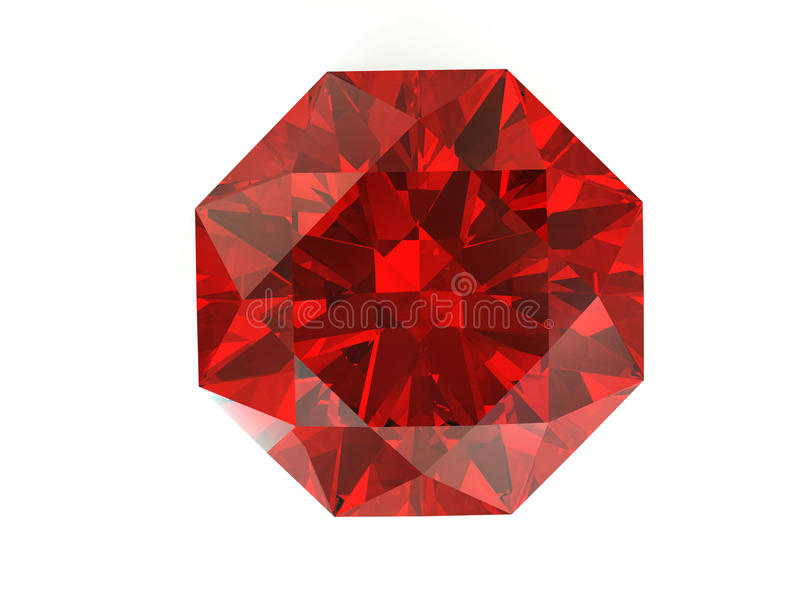 Diamant rouge sur le fond blanc illustration stock