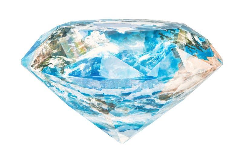Diamant som bryter i världsbegreppet Gemstone med textur vektor illustrationer