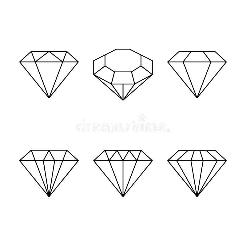 Diamant vastgesteld pictogram Vector illustratie Glanzend kristalteken Briljante steen Zwarte die slag op witte achtergrond wordt stock illustratie