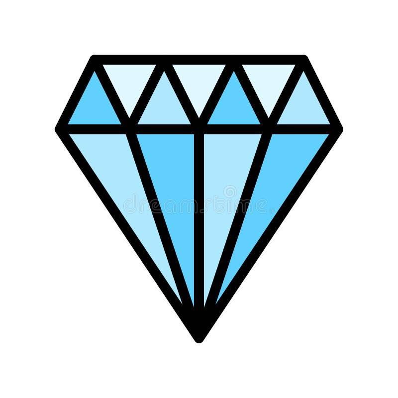 Diamant vectorillustratie, het gevulde editable overzicht van het stijlpictogram stock illustratie