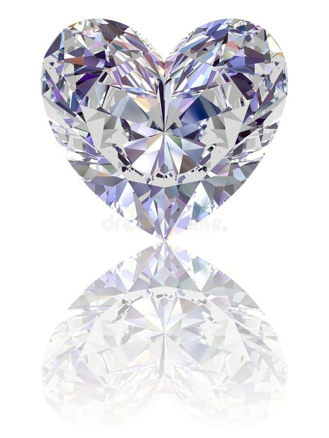 Diamant in vorm van hart op glanzende witte backgrou stock afbeelding