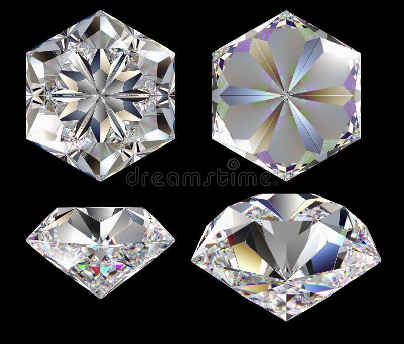 Diamant zes ster royalty-vrije illustratie