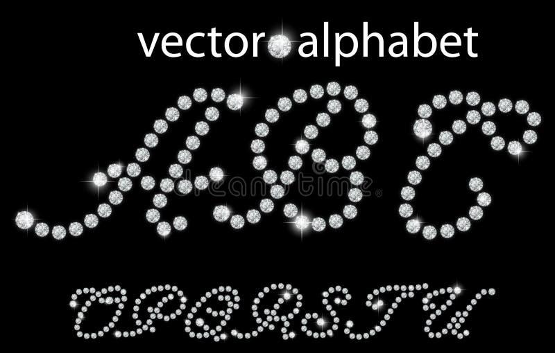 Diamantalphabet, Buchstaben von O zu U, Illustration vektor abbildung