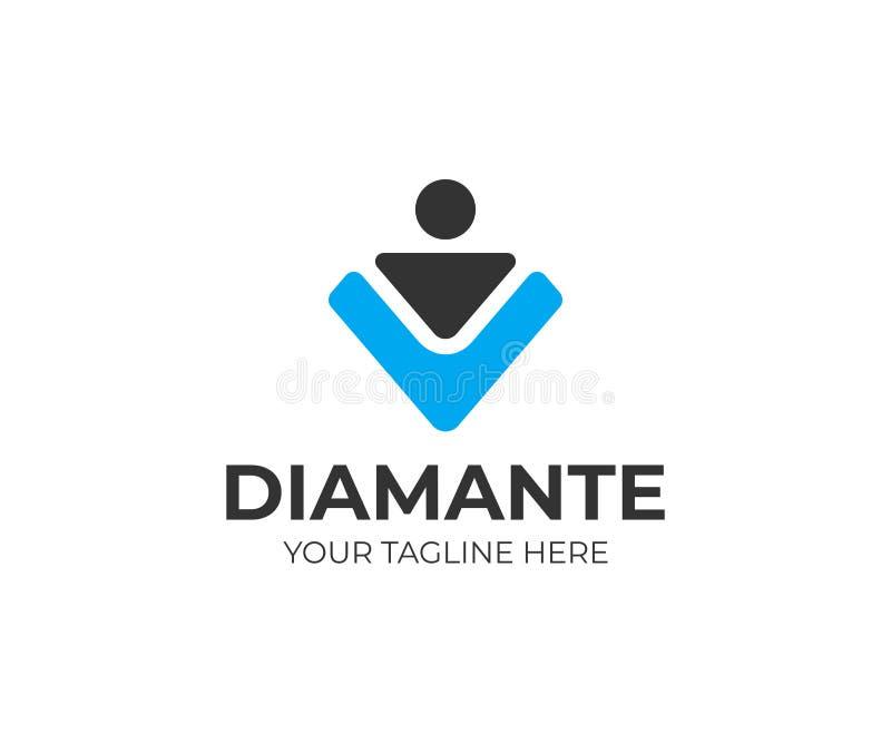 Diamantarbeitskraft-Logoschablone Einstellungsvektordesign lizenzfreie abbildung