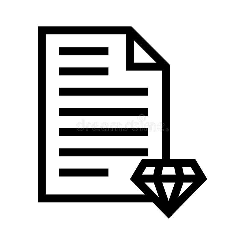 Diamantdokumentenlinie Ikone lizenzfreie abbildung