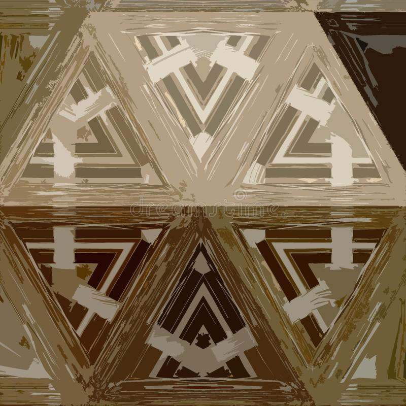 Diamantdriehoek in beige en bruin Geometrische hexagonale decoratieve textuur royalty-vrije illustratie