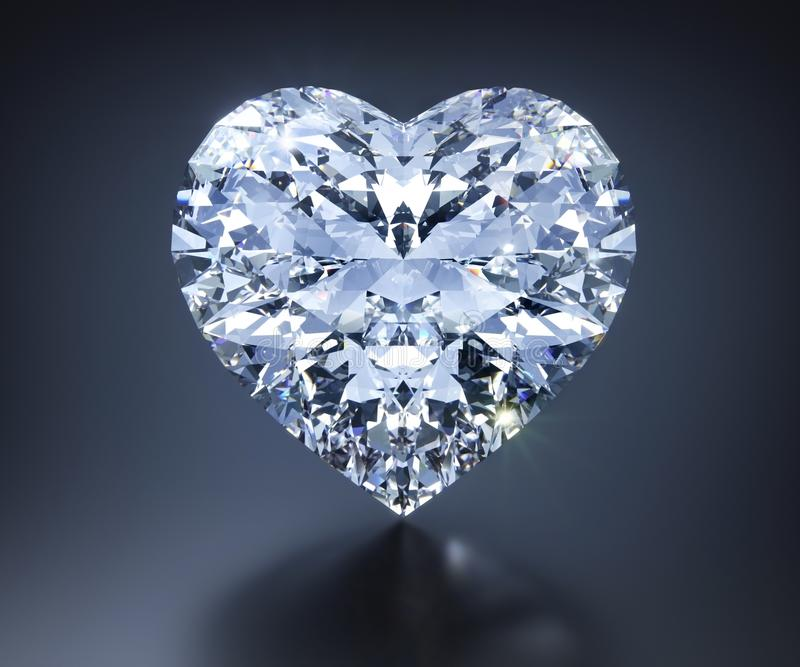 Diamante aislado 3D en un fondo gris oscuro ilustración del vector