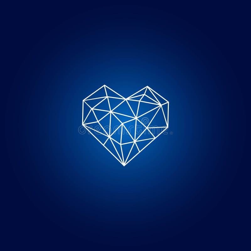 Diamante astratto isolato su fondo blu illustrazione di stock