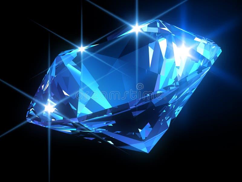Diamante azul brillante stock de ilustración