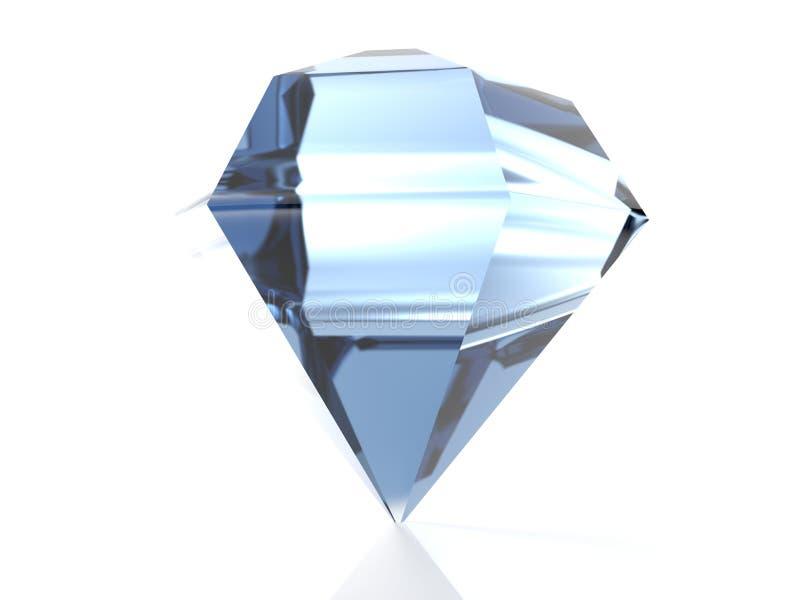 Diamante azul isolado no fundo branco - rendição 3D ilustração do vetor