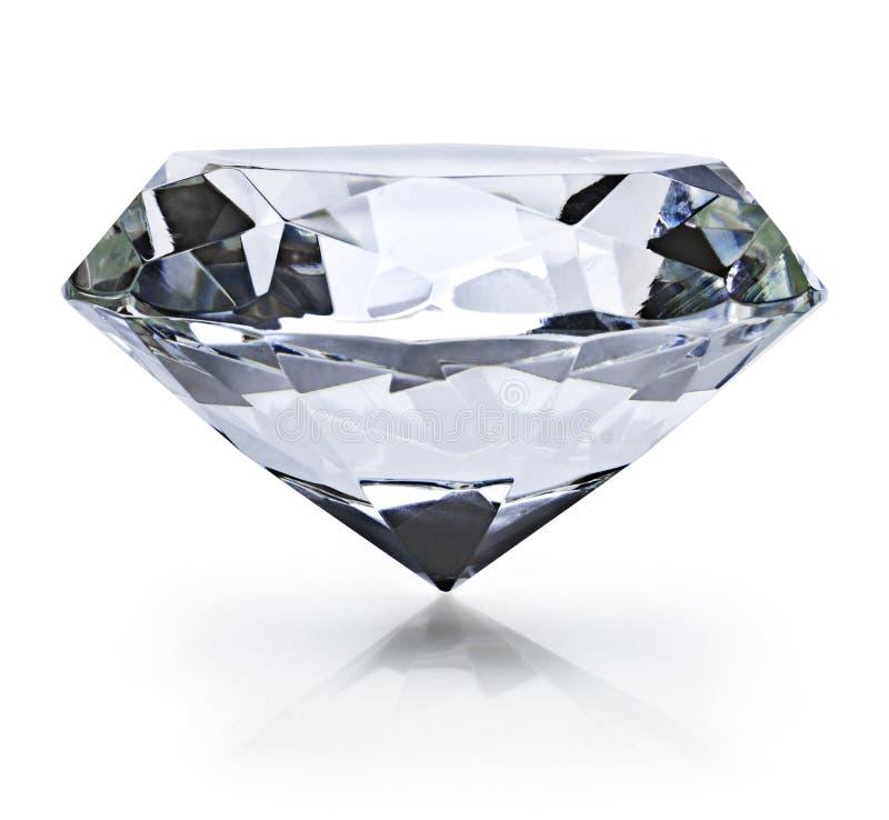 Diamante brillante hermoso, en el fondo blanco imagenes de archivo
