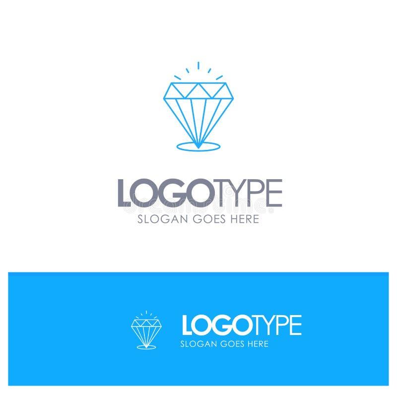 Diamante, brillo, costoso, logotipo azul del esquema de la piedra con el lugar para el tagline stock de ilustración