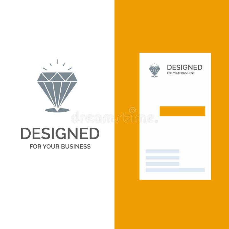 Diamante, brillo, costoso, piedra Grey Logo Design y plantilla de la tarjeta de visita libre illustration