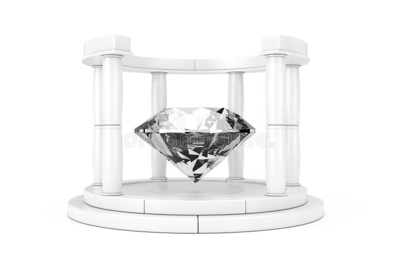 Diamante claro grande en el centro del podio antiguo blanco con las columnas en Clay Style representación 3d stock de ilustración