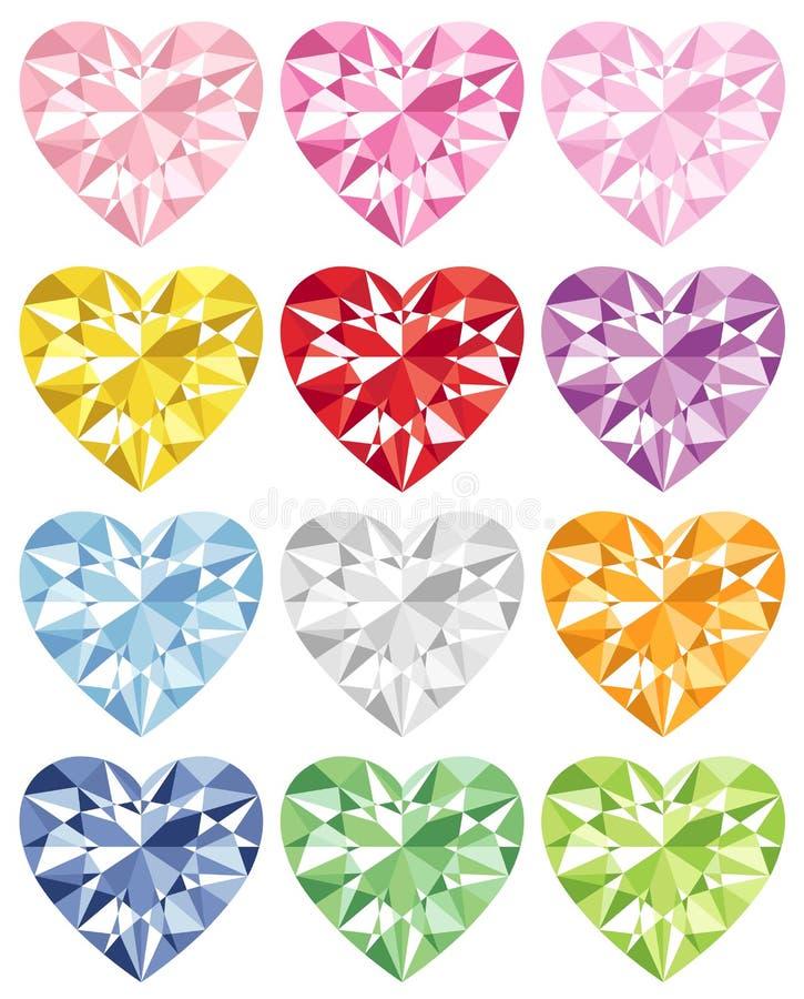 Diamante colorido del corazón libre illustration