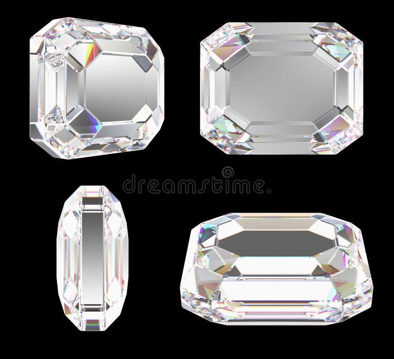 Diamante con el corte clásico de la esmeralda ilustración del vector