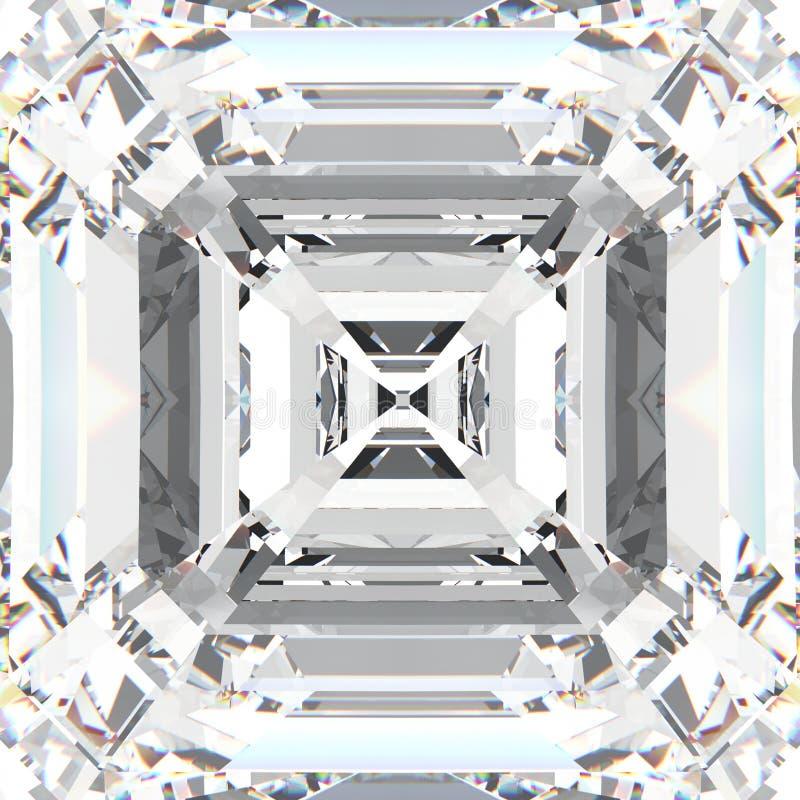 diamante costoso de la joyería de la piedra preciosa blanca del enfoque del ejemplo 3D stock de ilustración