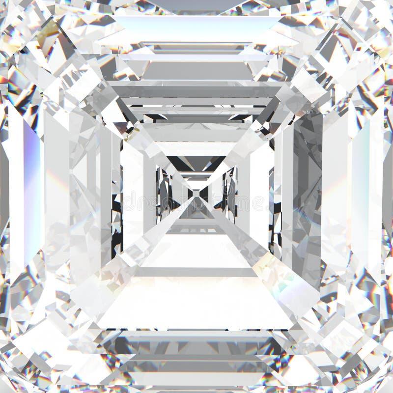 diamante costoso de la joyería de la piedra preciosa blanca macra del ejemplo 3D ilustración del vector
