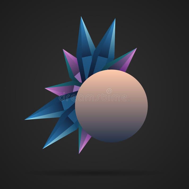 Diamante, cristais brilhantes coloridos do rubi Minerais de pedra do polígono com bandeira do círculo Vetor ilustração stock