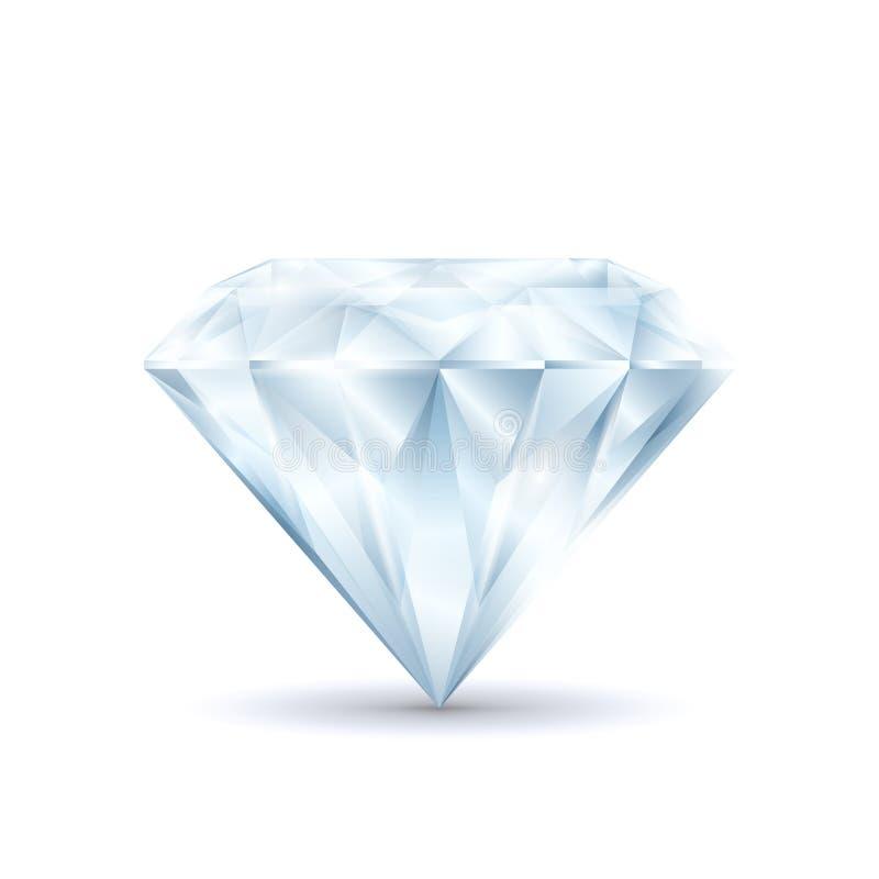 Diamante 3d brilhante brilhante detalhado realístico Vetor ilustração stock