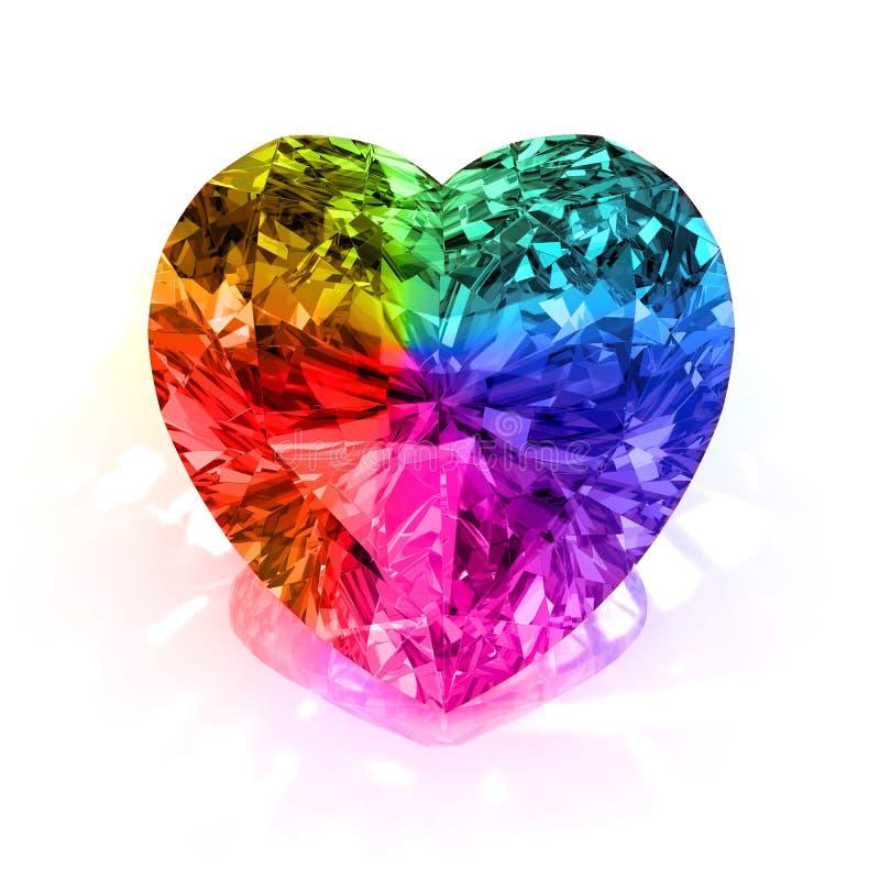 Diamante da forma do coração do arco-íris ilustração do vetor