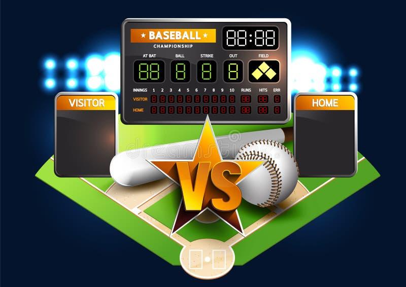 Diamante de basebol e placar do basebol ilustração royalty free