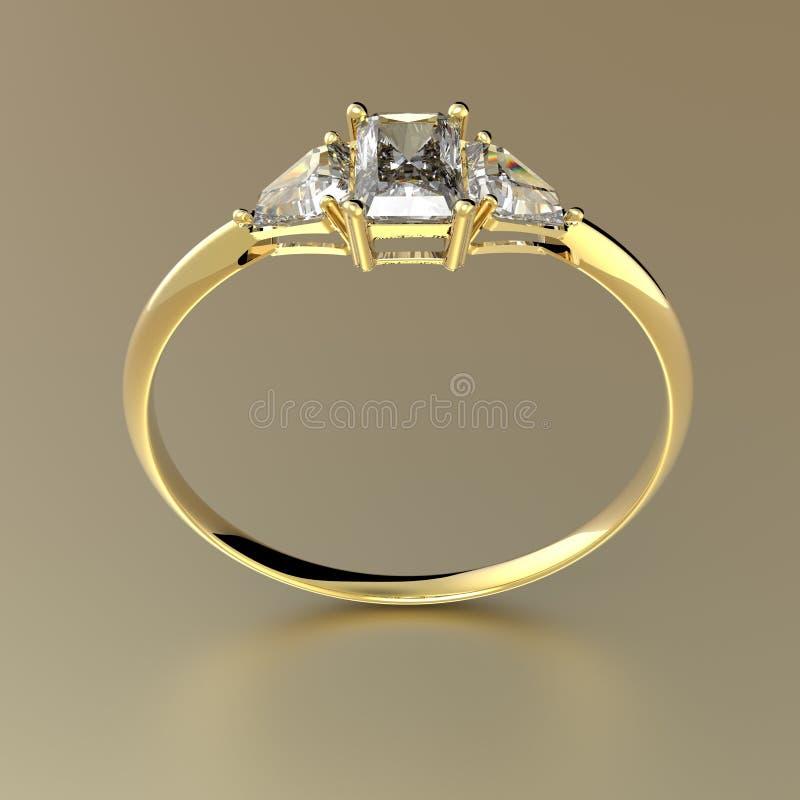 Diamante de oro del wiith del anillo de bodas ilustración 3D ilustración del vector