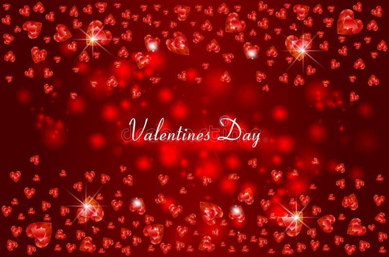 Diamante de queda do fundo das gemas em uma forma do coração, para o dia de Valentim do St, uma ilustração do vetor do feriado do ilustração stock