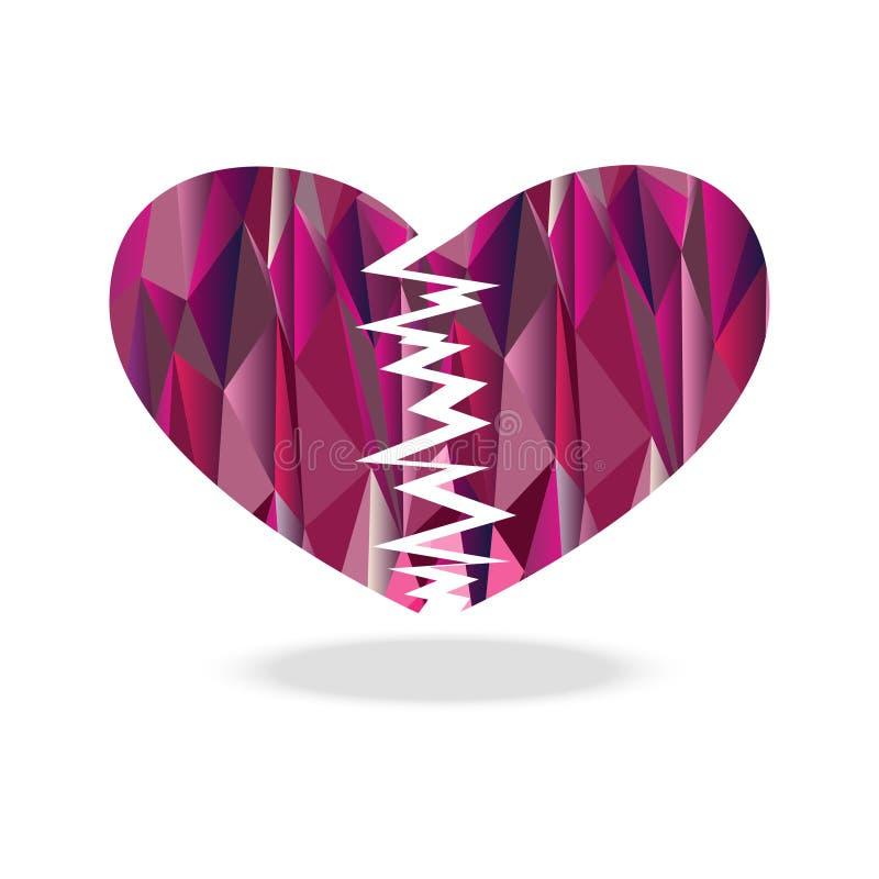 Diamante del corazón quebrado del polígono ilustración del vector