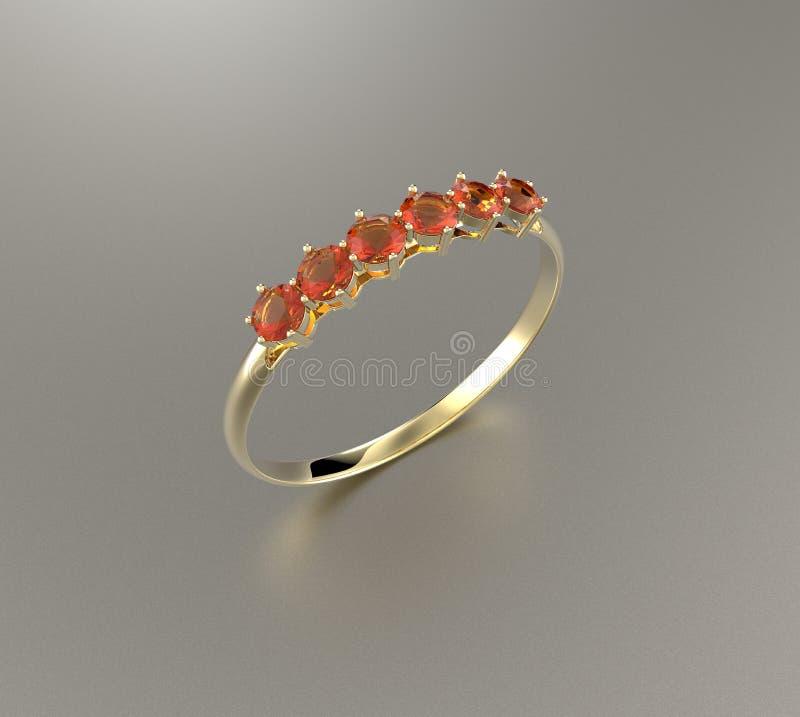Diamante del wiith della fede nuziale illustrazione 3D royalty illustrazione gratis