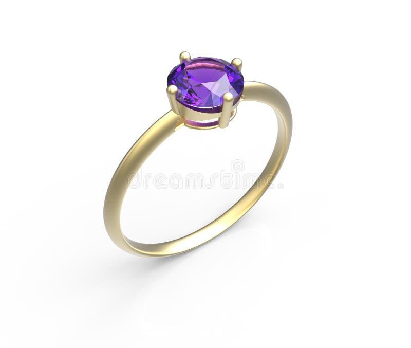 Diamante del wiith della fede nuziale illustrazione 3D illustrazione di stock