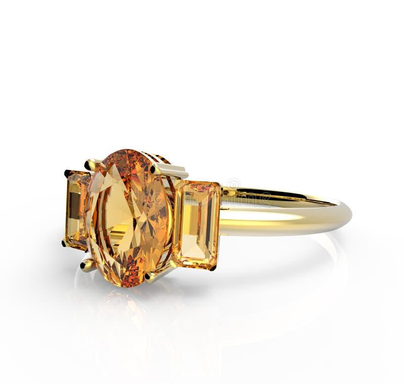 Diamante del wiith della fede nuziale isolato su un fondo bianco royalty illustrazione gratis