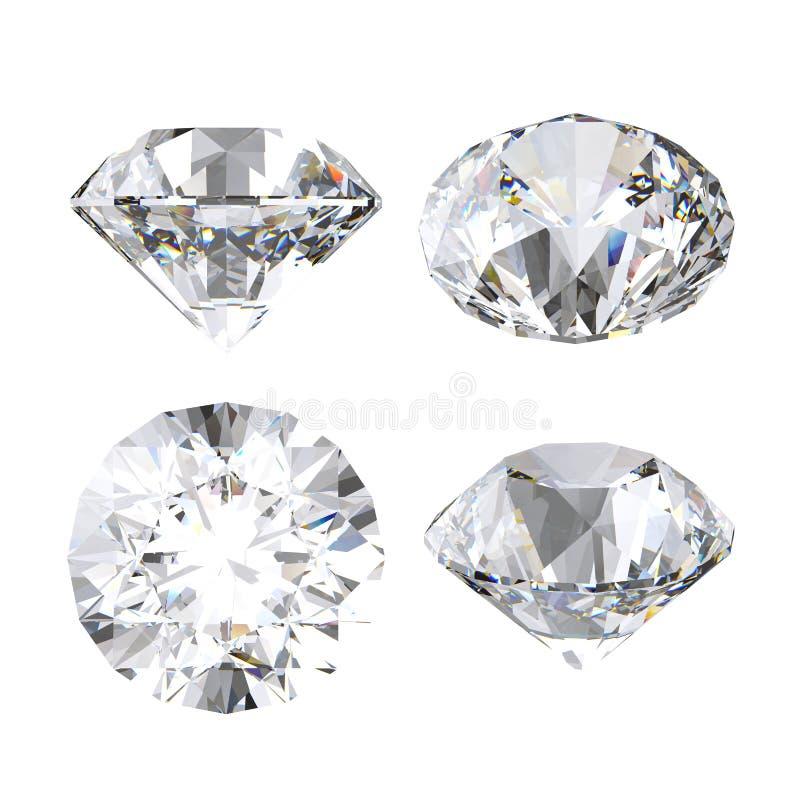 diamante della radura 3d, gemma brillante e preziosa, icona del gioiello, vista di prospettiva, insieme di clipart, isolato su fo royalty illustrazione gratis