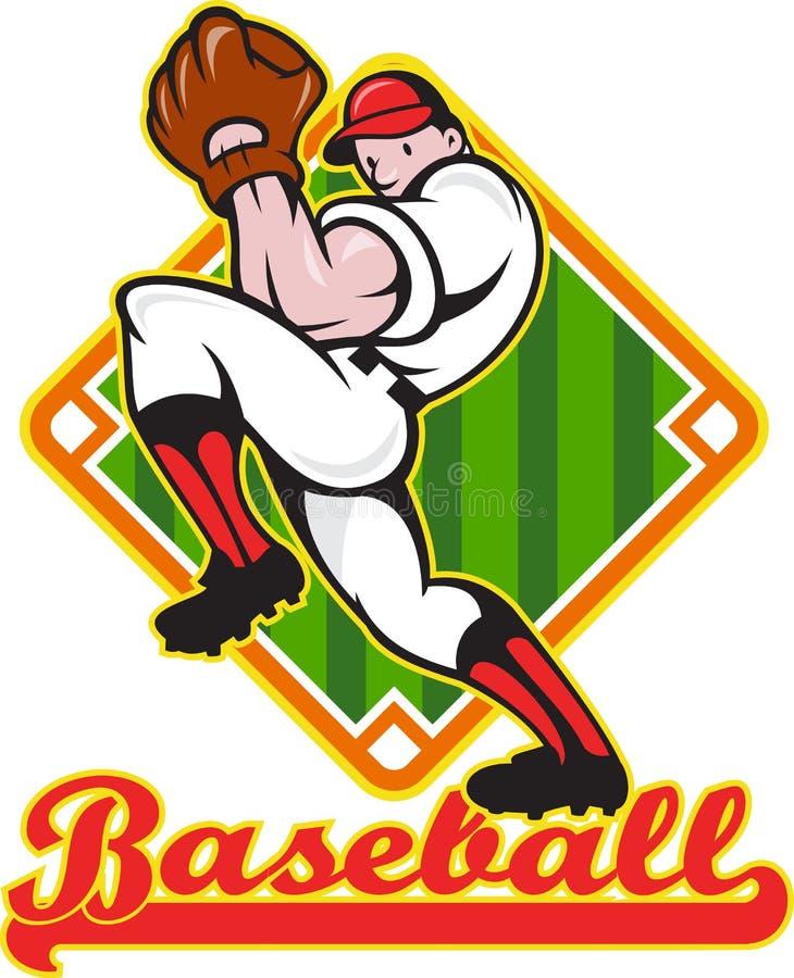 Diamante di lancio del giocatore della brocca di baseball illustrazione di stock