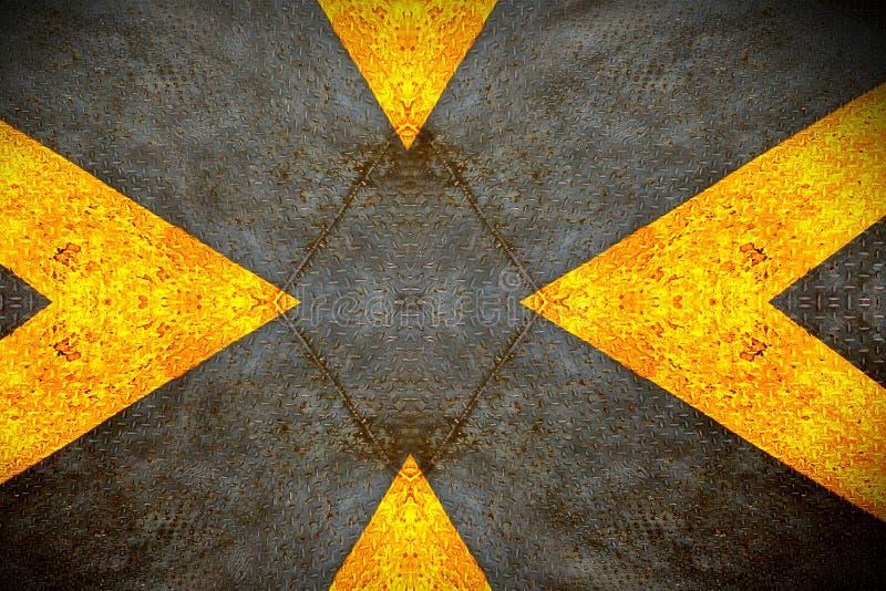 Diamante di lerciume di piastra metallica con il segno giallo immagine stock libera da diritti