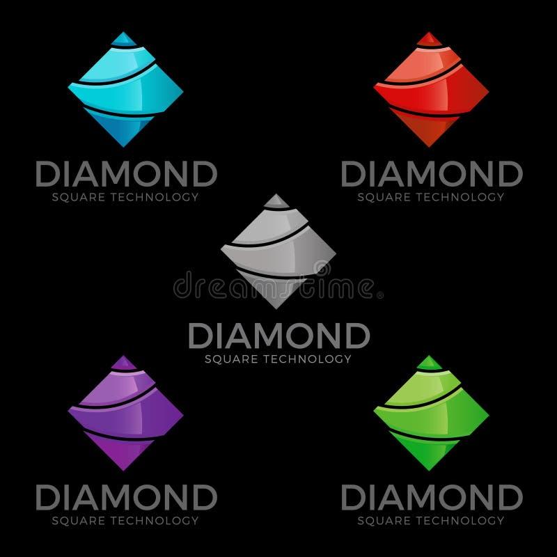 Diamante - Diamond Logo With Square Concept alla moda illustrazione di stock