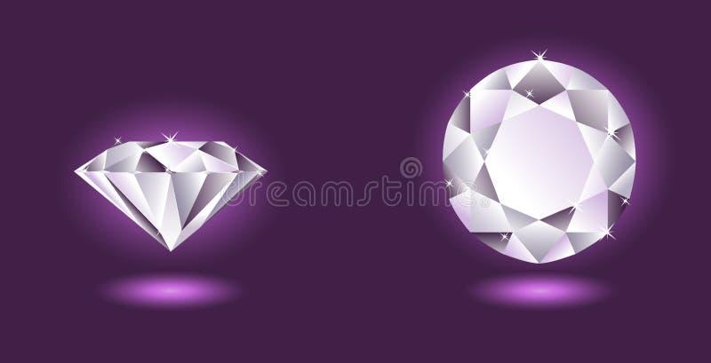 Diamante do vetor no fundo roxo ilustração do vetor