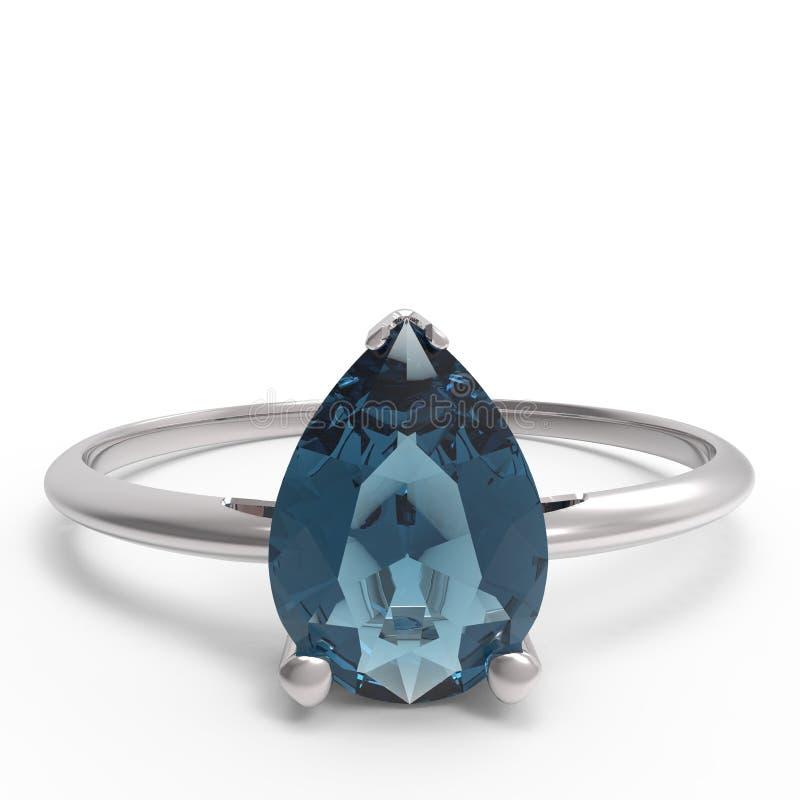 Diamante do wiith da aliança de casamento ilustração 3D ilustração do vetor