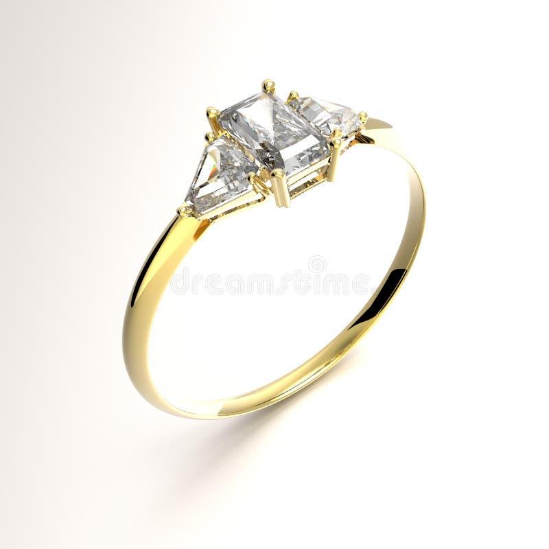 Diamante dorato del wiith della fede nuziale illustrazione 3D royalty illustrazione gratis