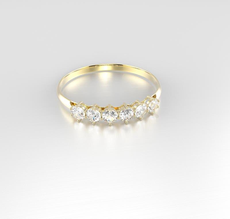 Diamante dorato del wiith della fede nuziale illustrazione 3D illustrazione di stock