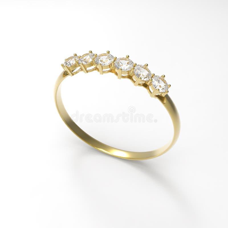 Diamante dorato del wiith della fede nuziale illustrazione 3D illustrazione vettoriale