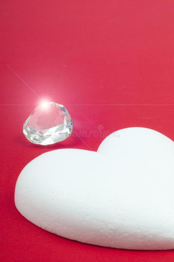 Diamante e cuore fotografie stock