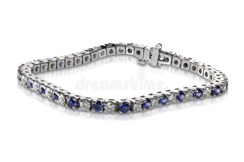 Diamante e Sapphire Tennis Bracelet fotografie stock
