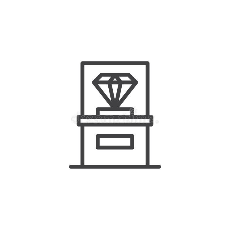 Diamante en el icono de cristal del esquema del escaparate del museo stock de ilustración